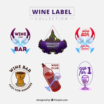 Six colorful wine labels with bottles and glasses
