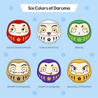 Six colors of daruma