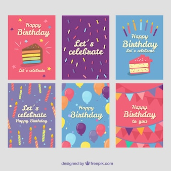 Six colourful birthday cards in flat design
