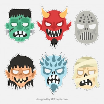 Six cut-out monster masks for a halloween party