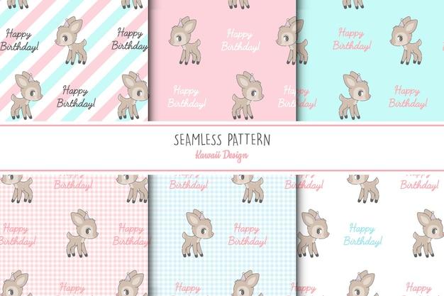 6 귀여운 deers 원활한 패턴 세트