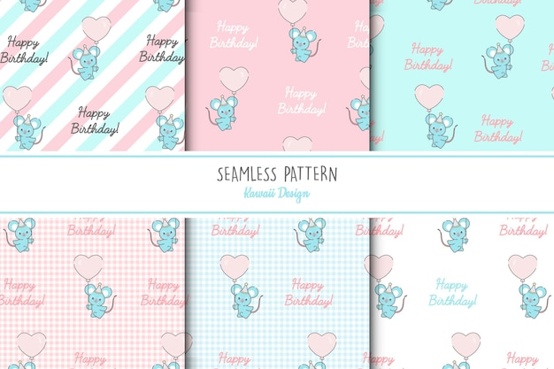 6 귀여운 쥐 원활한 패턴 세트