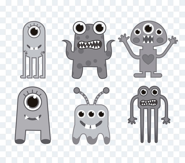 Six cute monsters over squares background gray