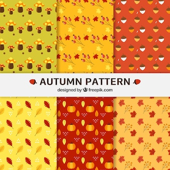Six cute patterns with autumn leaves