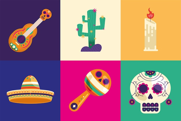 Six day of dead icons