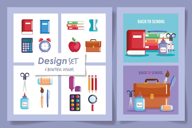 Six designs of back to school supplies