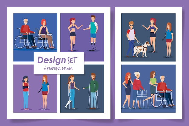 Six designs of people disabled scenes