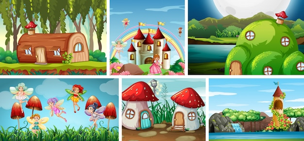 Six different scene of fantasy world with fairies in fairy tale and fantasy places