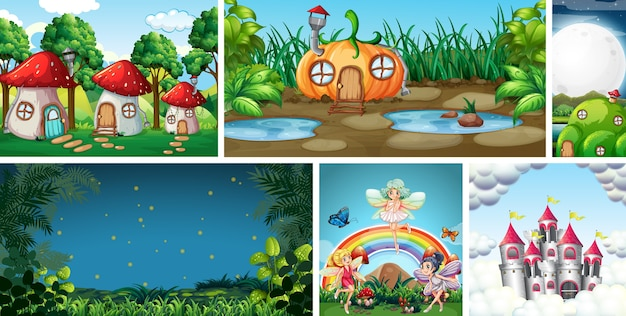 Six different scene of fantasy world with fantasy places and fantasy character such as fairies