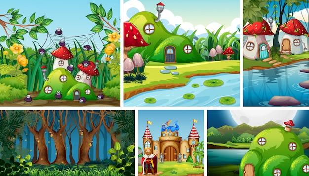 Sei diverse scene del mondo fantastico con il villaggio dei funghi