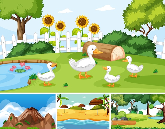 Шесть разных сцен на природе в мультяшном стиле
