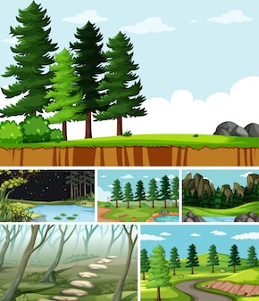 Six different scenes in nature setting cartoon style