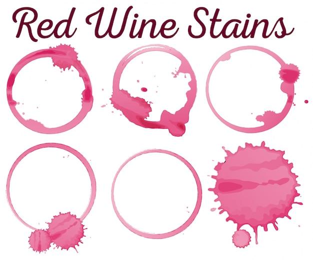 Sei illustrazioni colorate di vino rosso diffuso