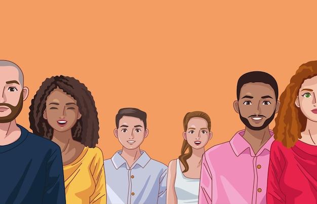 6명의 다양성 사람
