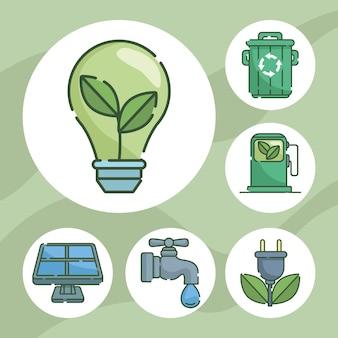 Шесть значков концепции экологии
