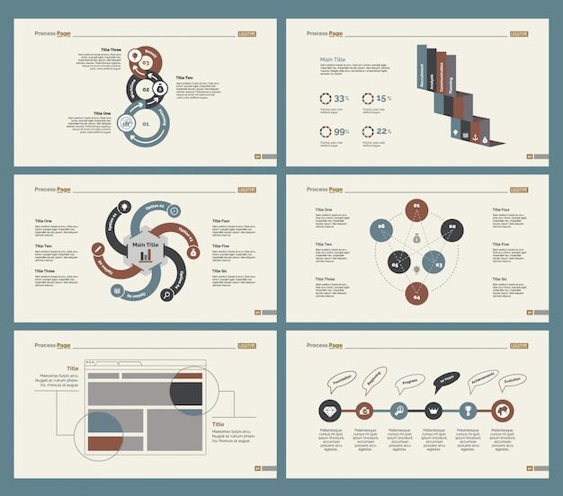Six economics charts slide templates set