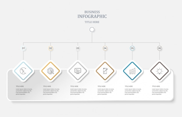 Six element and icons for business concept.