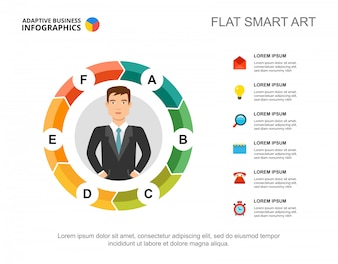 Six elements flow chart template for presentation. Business data visualization.