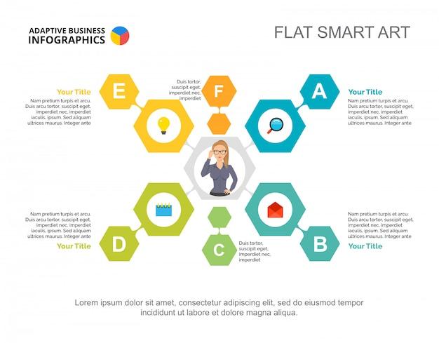 Modello di diagramma di flusso di sei elementi per la presentazione. visualizzazione dei dati aziendali