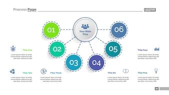 Six elements flowchart template. Business data. Elements of diagram, graphic.