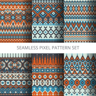 Six ethnic pixel patterns