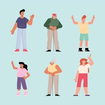 Шесть членов семьи персонажей группы