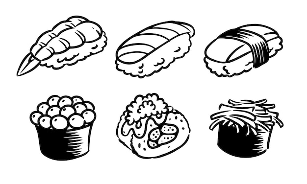 白い背景に描かれた寿司セットの6つの味
