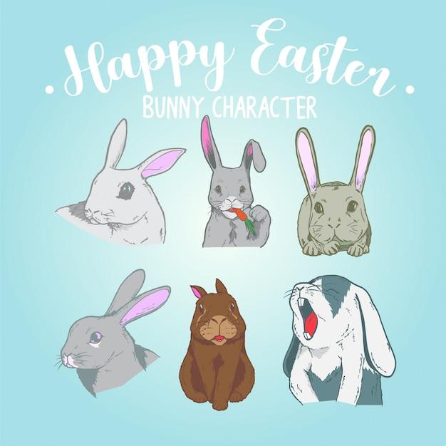 Six funny bunny, happy easter