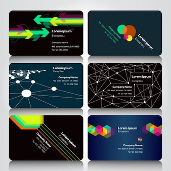 Six geometric business cards