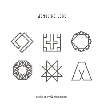 Six geometric monoline logos
