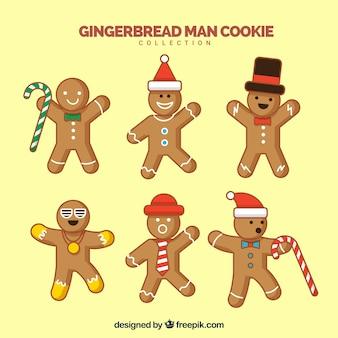노란색 배경에 6 진저 브레드 남자 쿠키