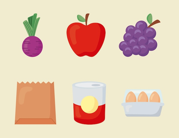 Six groceries store set icons