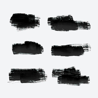 Six grunge paint stroke set