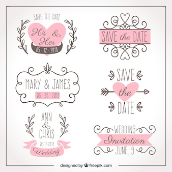Six hand drawn wedding labels