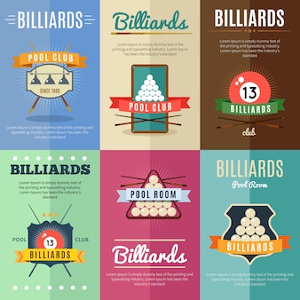 Six horizontal billiards illustration poster set with ribbons and big titles pool room and club