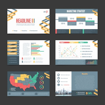 Six horizontal presentation templates banner set