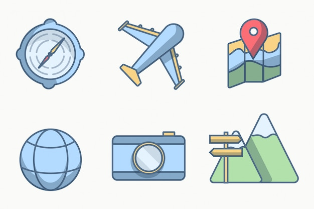 Six icon or object travel with style lines color