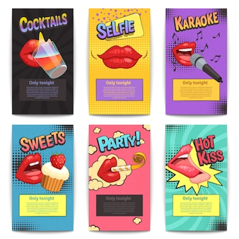Six isolated comic lips party colorful mini posters set