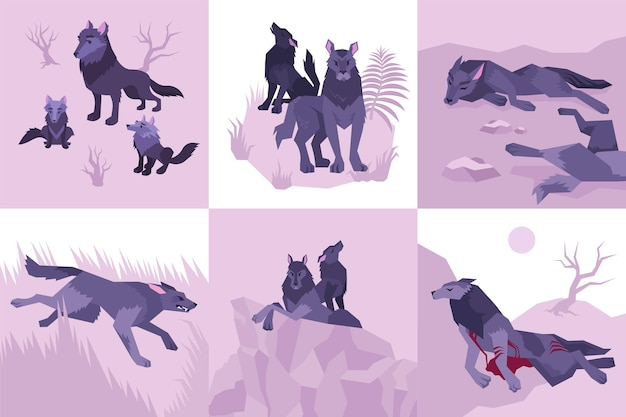 Six isolated mowgli flat icon set with wolves howl defeated killed bleeding and running illustration