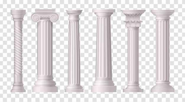 Six isolated and realistic antique white columns icon set on transparent surface illustration