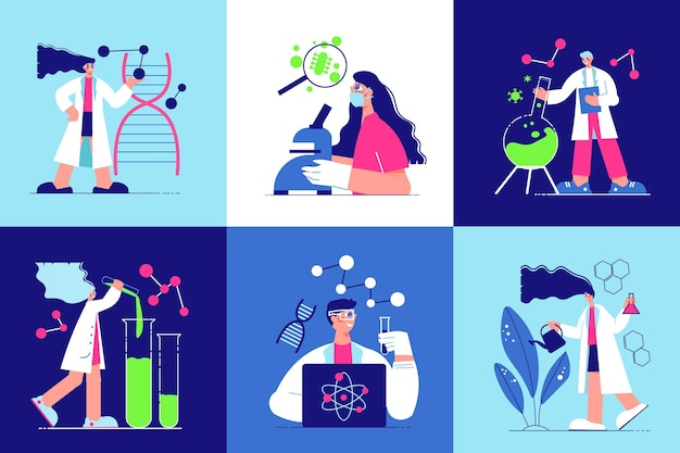 Six isolated square icons with cartoon human characters working in science laboratory