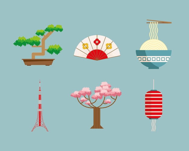 6つの日本の国のアイコン