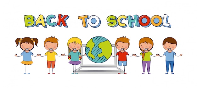 Six kids back to school with the world illustration