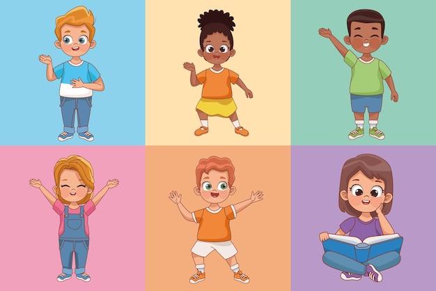 Six kids characters
