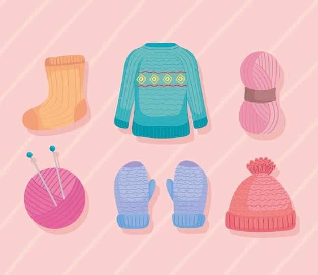 Six knitting icons