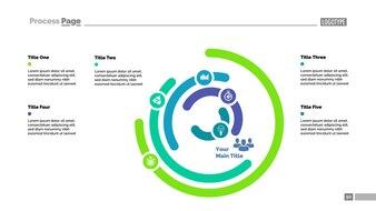 Six layer donut chart slide template. Business data. Graph, diagram