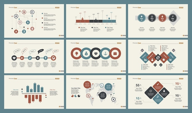 Six logistics charts slide templates set