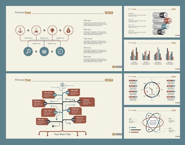 Sei diagrammi di logistica set di modelli di diapositive