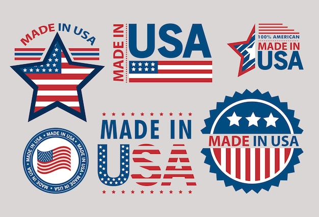 Six made in usa set labels
