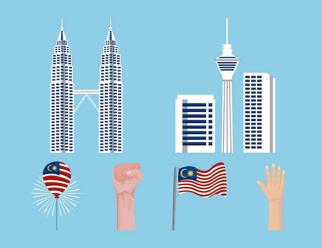 Six malaysia celebration set icons